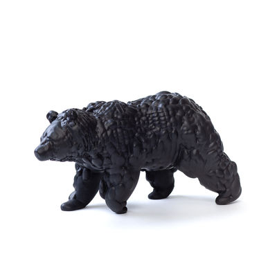 Figurine Orso Large / Céramique modelée 3D - L28 cm - Moustache gris/noir en céramique