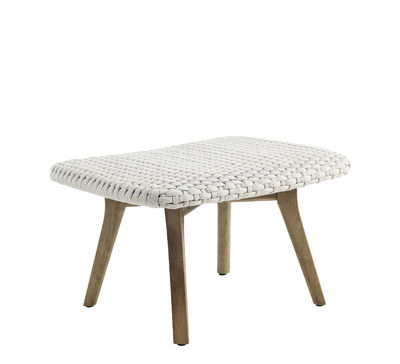 Furniture - Poufs & Floor Cushions - Collection Knit - repose-pied Footrest - / Pouf - Synthetic rope by Ethimo - Beige / Sanded teak - Sanded teak, Synthetic rope
