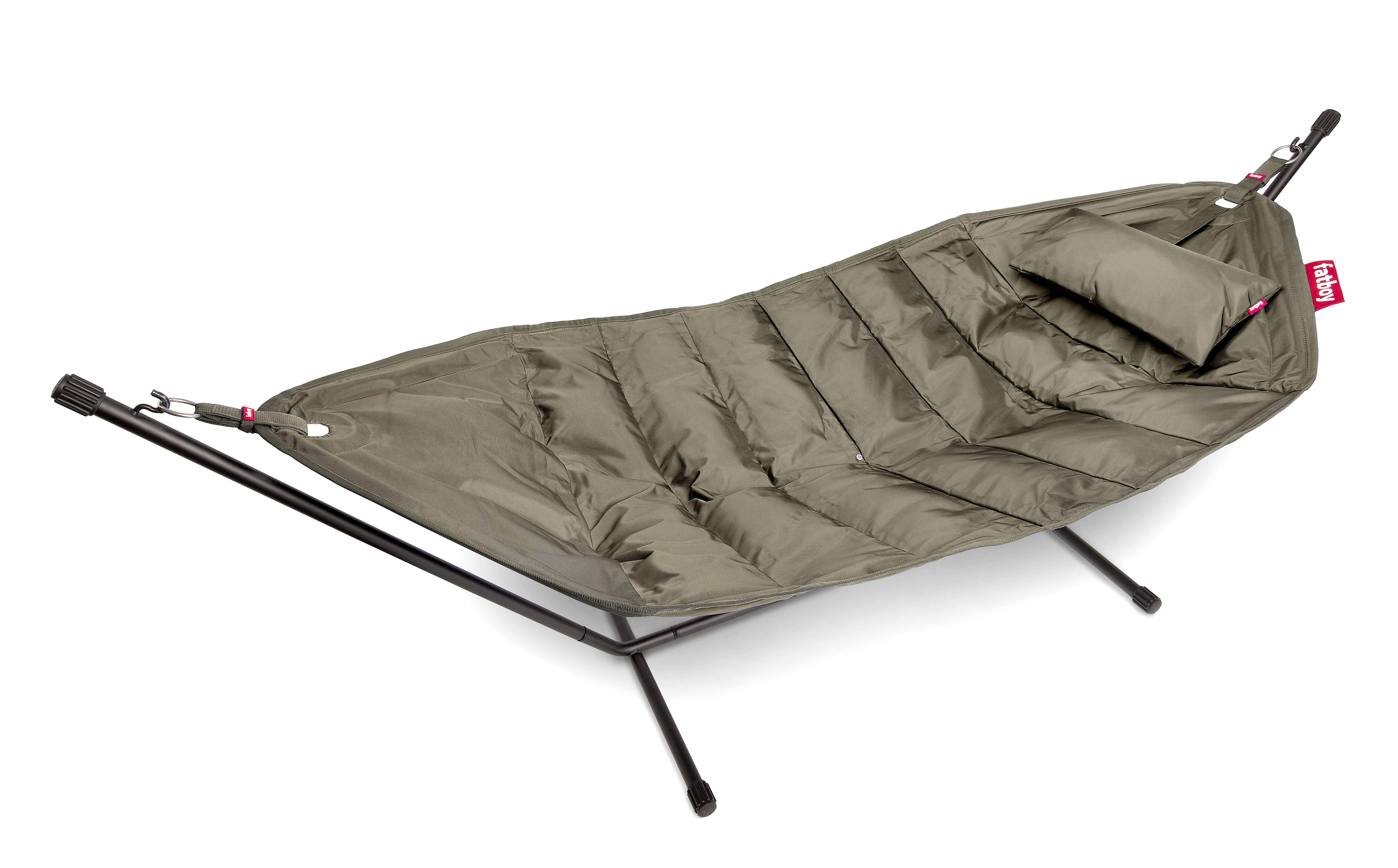 Outdoor - Chaises longues et hamacs - Hamac Headdemock Deluxe / Tissu polyester - Avec coussin & housse - Fatboy - Taupe - Acier laqué époxy, Polyester