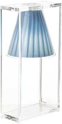 Luminaire - Lampes de table - Lampe de table Light-Air / Abat-jour tissu - Kartell - Tissu bleu ciel / Cadre cristal - Technopolymère thermoplastique, Tissu
