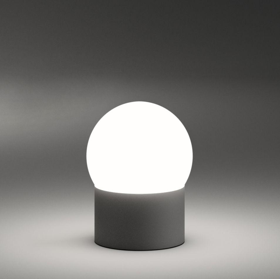 Leuchten - Tischleuchten - June LED Lampe ohne Kabel - Vibia - Dunkelbraun / weiß - geblasenes Glas, lackiertes Aluminium