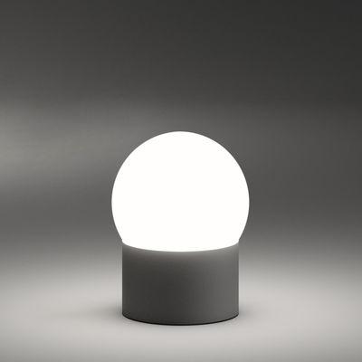 Luminaire - Lampes de table - Lampe sans fil June LED - Vibia - Marron foncé / Blanc - Aluminium laqué, Verre soufflé