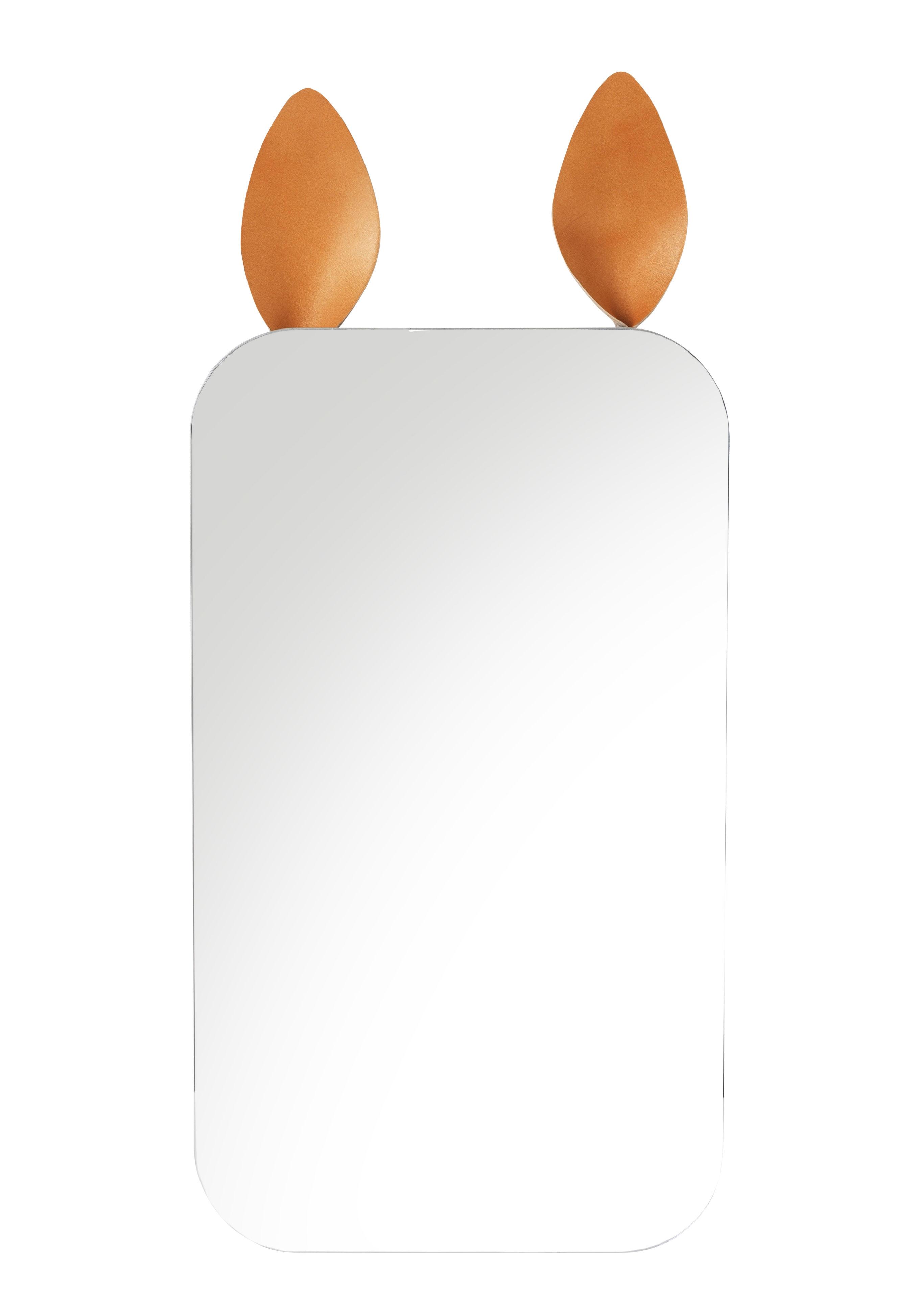Déco - Pour les enfants - Miroir mural Rabbit / L 25 x H 44 cm - Oreilles en cuir - Ferm Living - Cuir naturel - Cuir, Verre