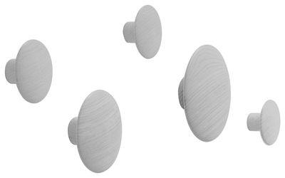 Mobilier - Portemanteaux, patères & portants - Patère The Dots Wood / Set de 5 - Muuto - Gris - Frêne peint