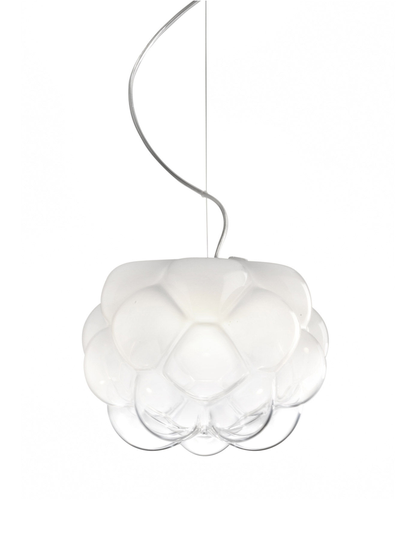 Lighting - Pendant Lighting - Cloudy Pendant by Fabbian - White & transparent - Blown glass, Moulded aluminium