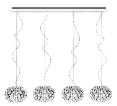 Caboche Piccola Pendelleuchte / mit 4 Lampenschirmen - L 135 cm - Foscarini - Transparent