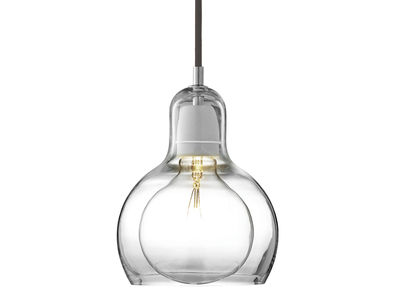 Leuchten - Pendelleuchten - Mega Bulb Pendelleuchte - Ø 18 cm - schwarzes Stromkabel - &tradition - Transparent / Stromkabel schwarz - mundgeblasenes Glas