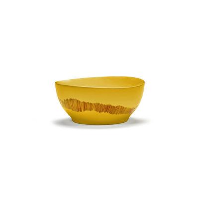Tischkultur - Salatschüsseln und Schalen - Feast Schale Small / Ø 16 x H 7,5 cm - Serax - Striche / Gelb & rot - emaillierter Sandstein
