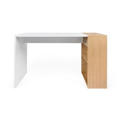 Möbel - Büromöbel - Darwin Schreibtisch / L 120 x T 60 cm - Integrierte Regale - POP UP HOME - Weiß & Eiche - , Eichenfurnier, Holzfaserplatte
