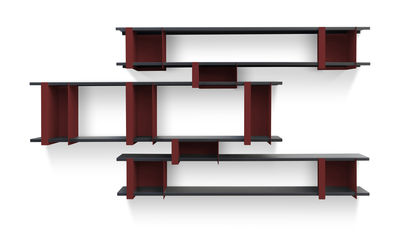 Furniture - Bookcases & Bookshelves - Opli 6 Shelf by Presse citron - Red / Charcoal - Lacquered steel