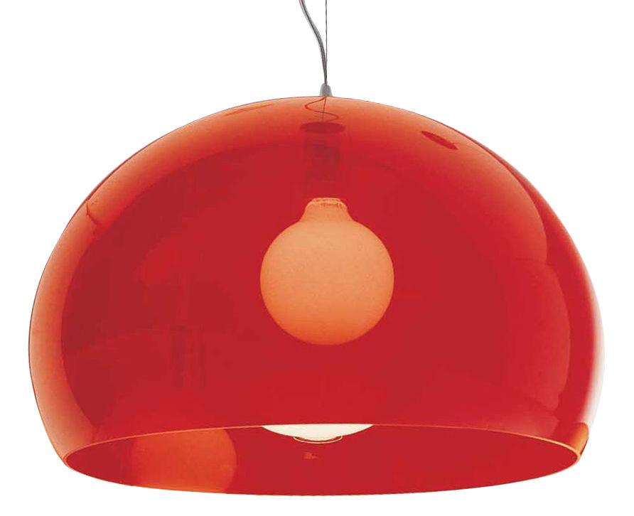 Illuminazione - Lampadari - Sospensione FL/Y di Kartell - Rosso - PMMA teinté dans la masse