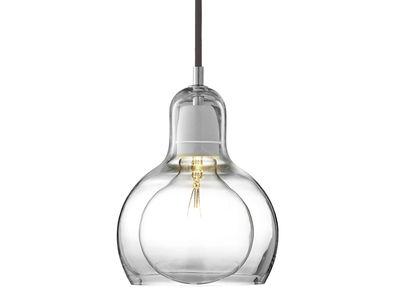 Illuminazione - Lampadari - Sospensione Mega Bulb - Ø 18 cm - Cordonee Nero di &tradition - Trasparente / Cordonee nero - Vetro soffiato a bocca