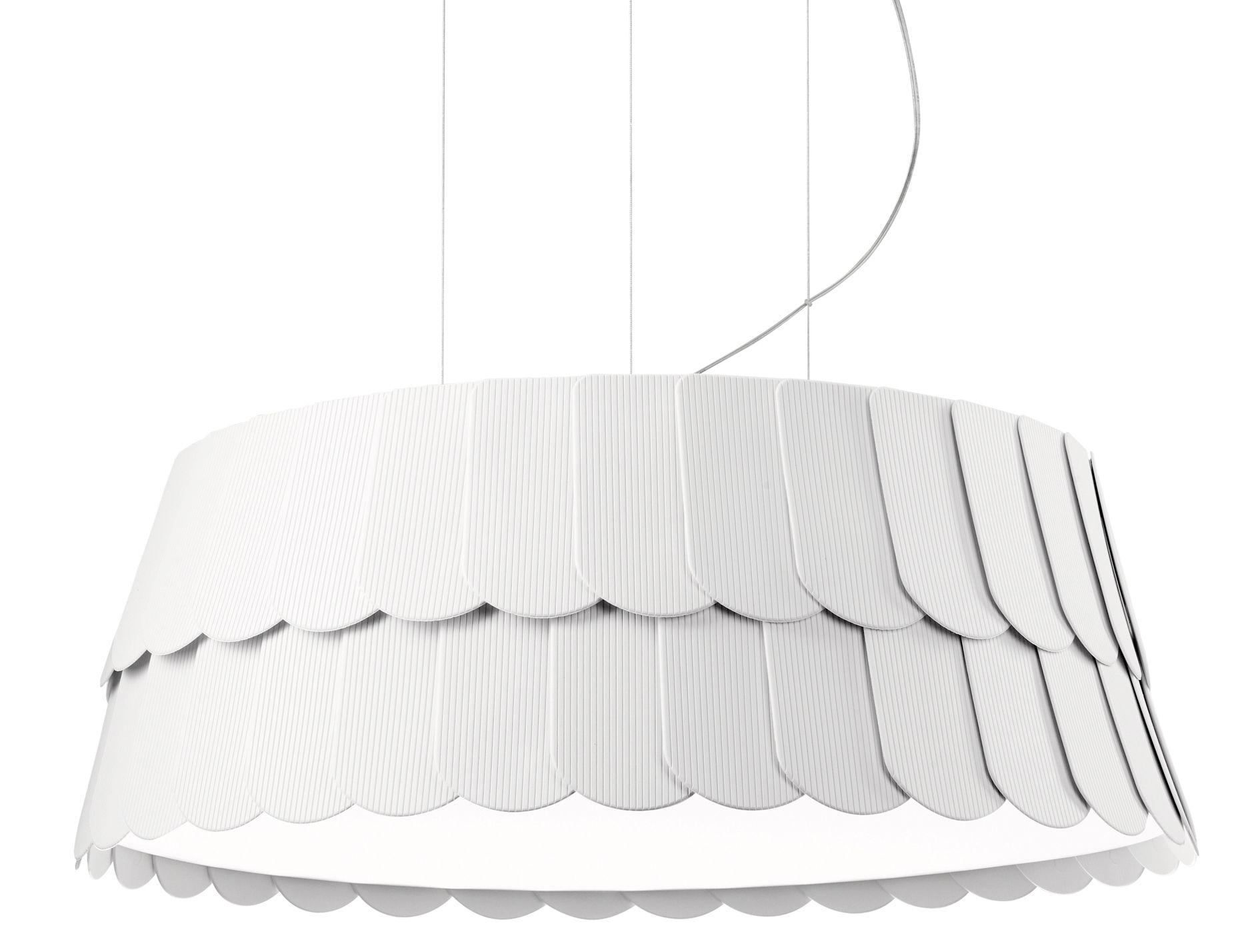 Illuminazione - Lampadari - Sospensione Roofer - Ø 59 x H 22,5 cm di Fabbian - Bianco - Gomma