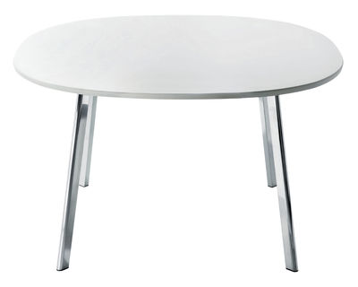 Furniture - Dining Tables - Déjà-vu Square table - 98 cm by Magis - 98x98 - white top - Polished aluminium, Varnished MDF