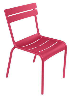 Furniture - Chairs - Luxembourg Stacking chair - / Aluminium by Fermob - Praline pink - Lacquered aluminium