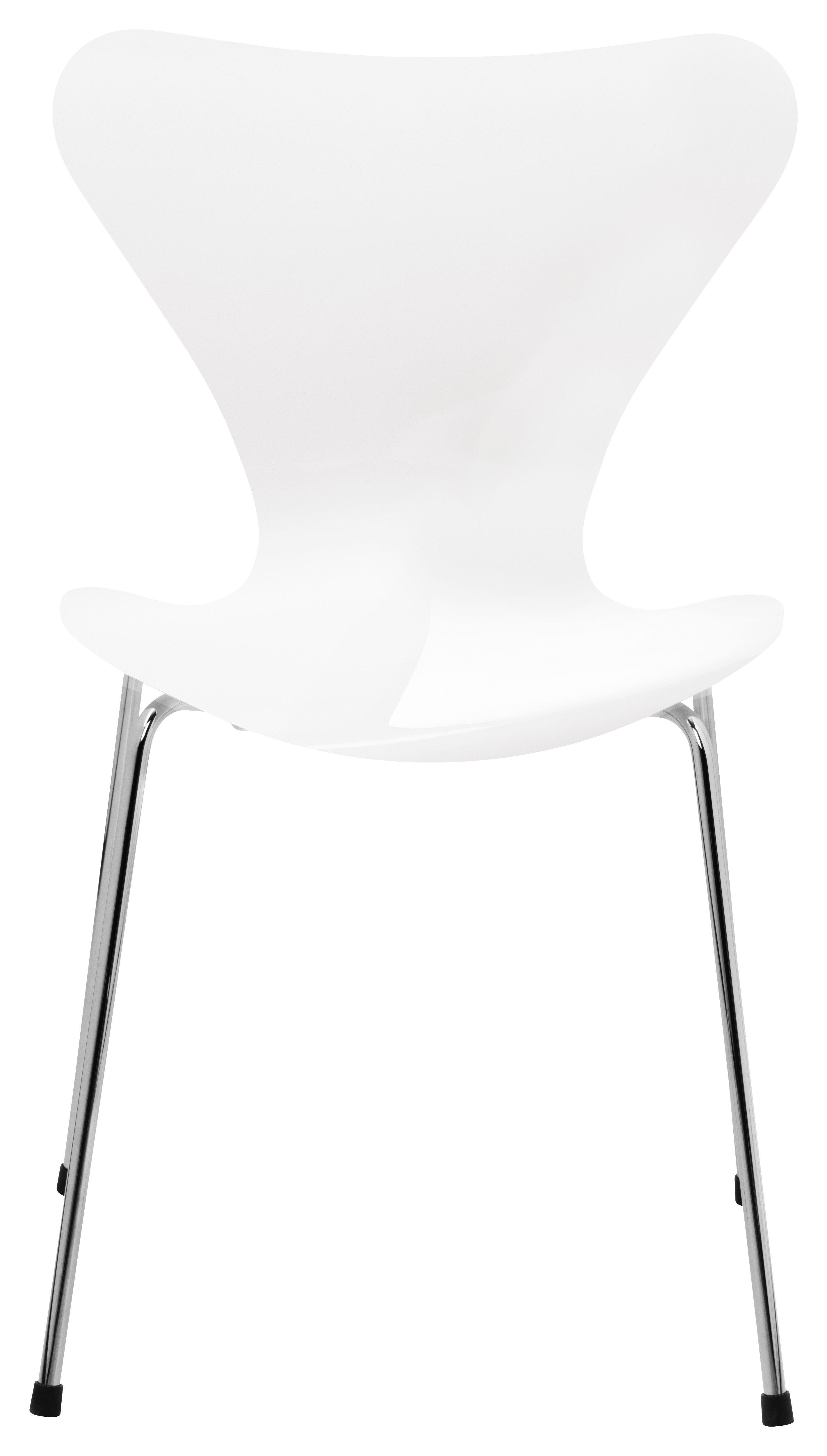 Furniture - Chairs - Série 7 Stacking chair - Lacquered wood by Fritz Hansen - White lacquered - Lacquered plywood, Steel