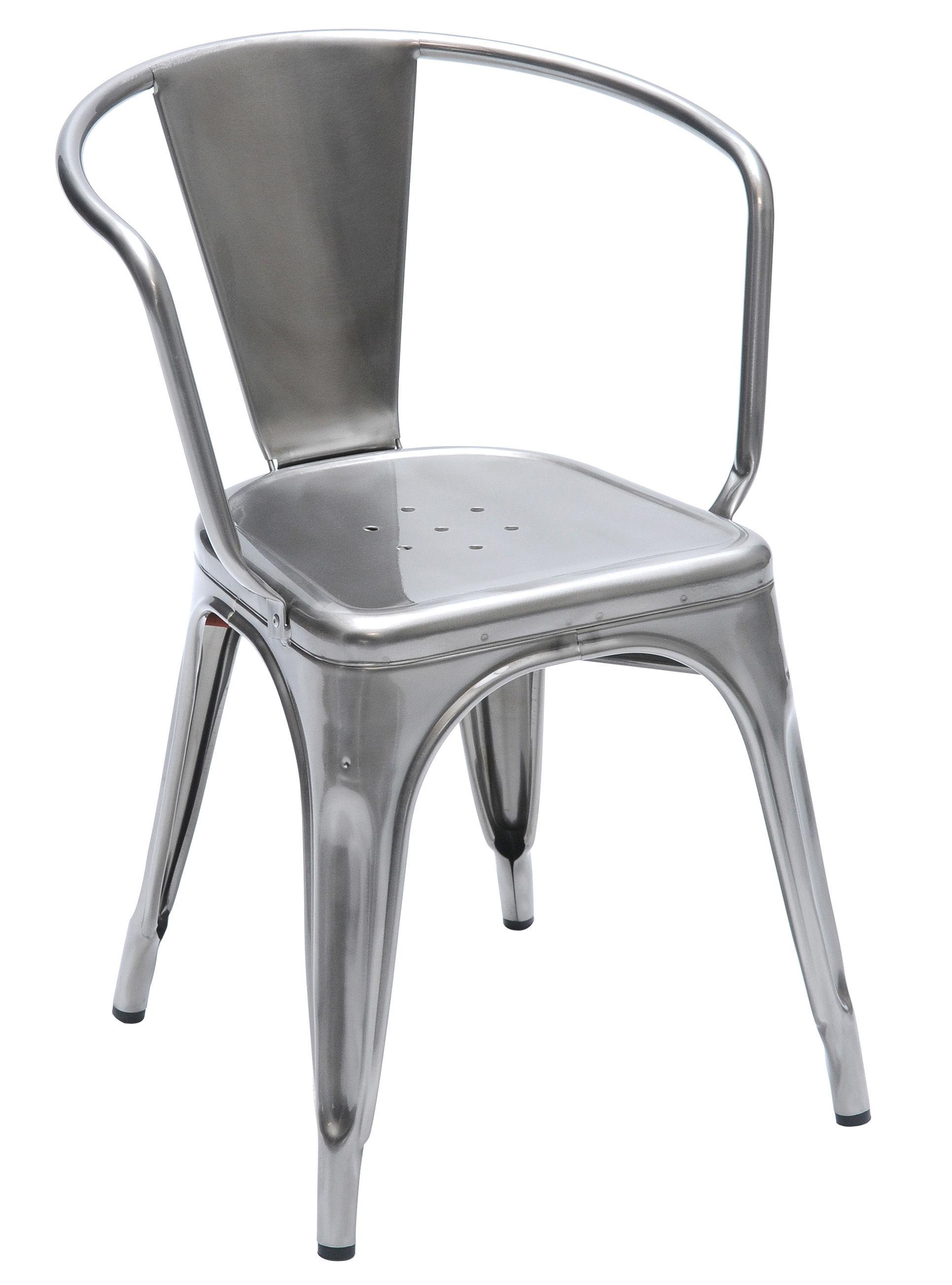 Möbel - Stühle  - A56 Stapelbarer Sessel lackierter Rohstahl - Tolix - Glänzend lackierter Rohstahl - Acier brut verni brillant