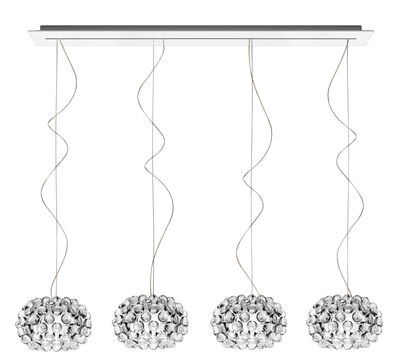 Luminaire - Suspensions - Suspension Caboche Piccola / 4 éléments - L 135 cm - Foscarini - Transparent - Métal laqué, PMMA