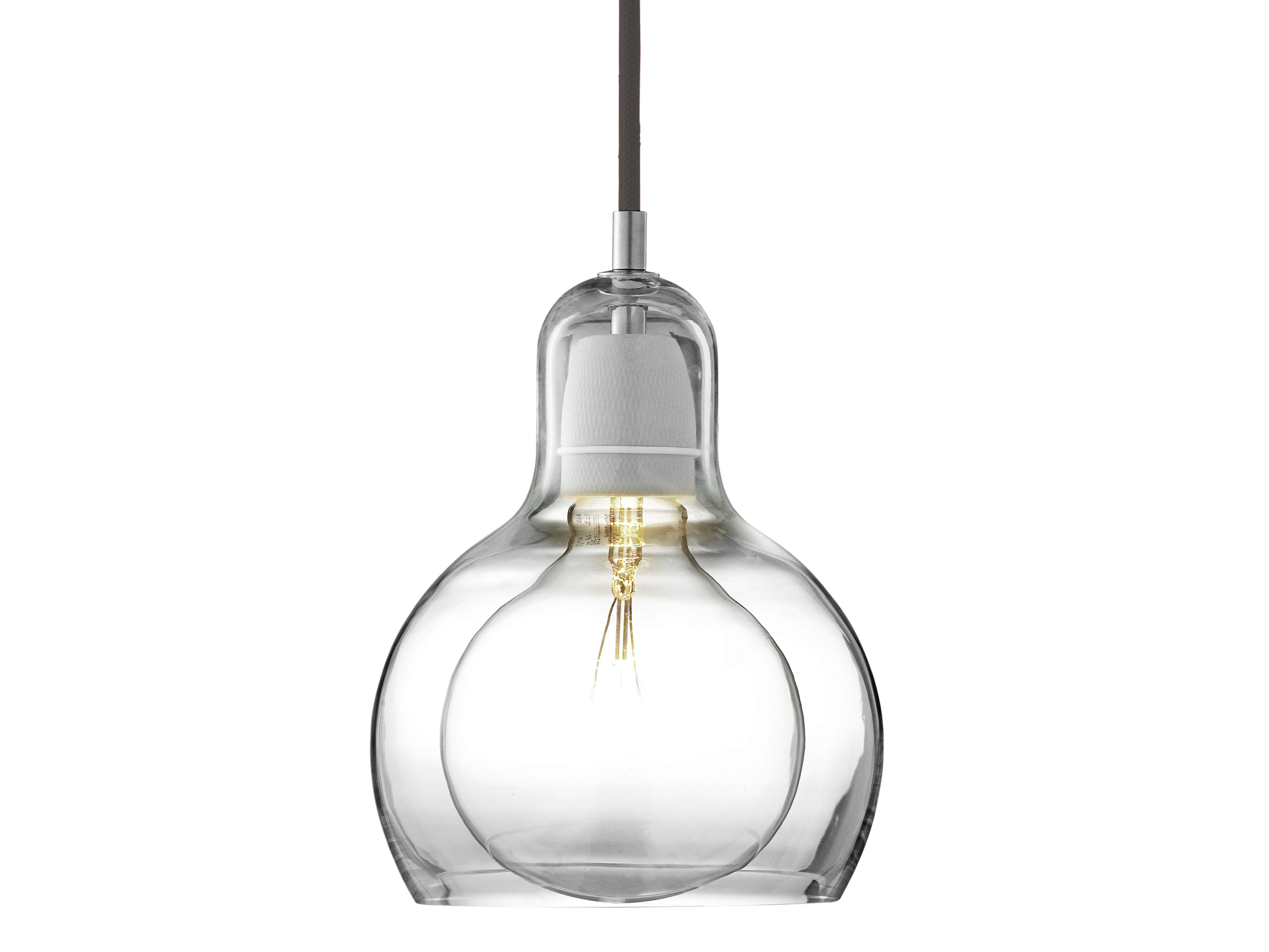 Luminaire - Suspensions - Suspension Mega Bulb / Ø 18 cm - Câble noir - &tradition - Transparent / câble noir - Verre soufflé bouche