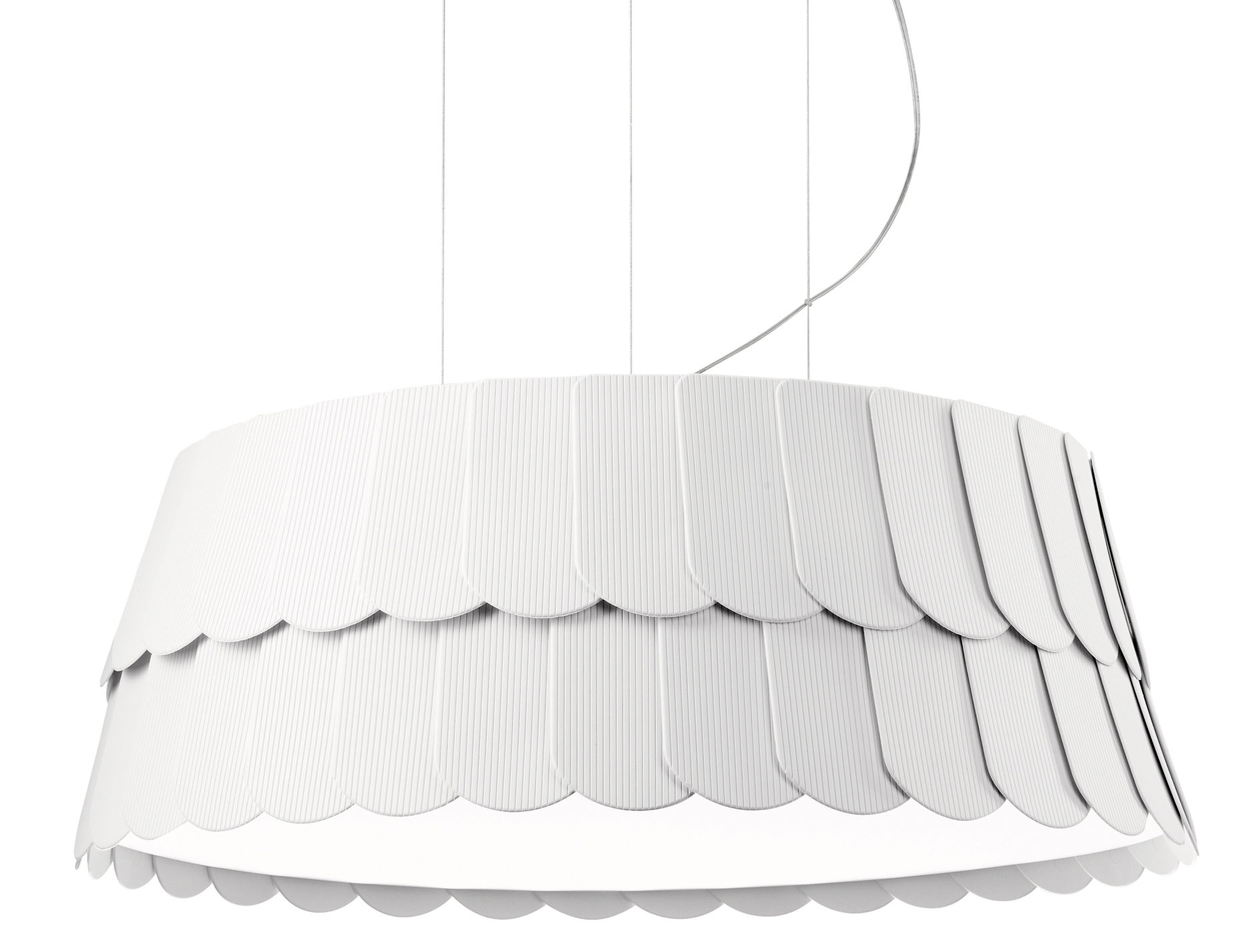 Luminaire - Suspensions - Suspension Roofer Ø 59 x H 22,5 cm - Fabbian - Blanc - Gomme