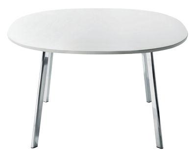 Mobilier - Tables - Table Déjà-vu / 98 x 98 cm - Magis - Plateau blanc / Pieds chromés - Aluminium poli, MDF verni