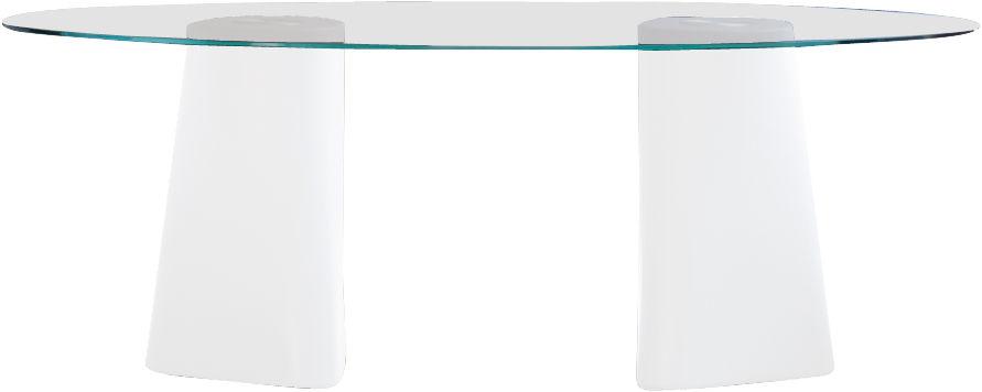 Jardin - Tables de jardin - Table rectangulaire Adam / 200 x 100 cm - B-LINE - Pied blanc / plateau transparent - Polyéthylène, Verre trempé