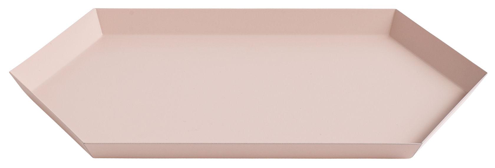 Tischkultur - Tabletts - Kaleido Medium Tablett / 33,5 x 19,5 cm - Hay - Pfirsich - bemalter Stahl