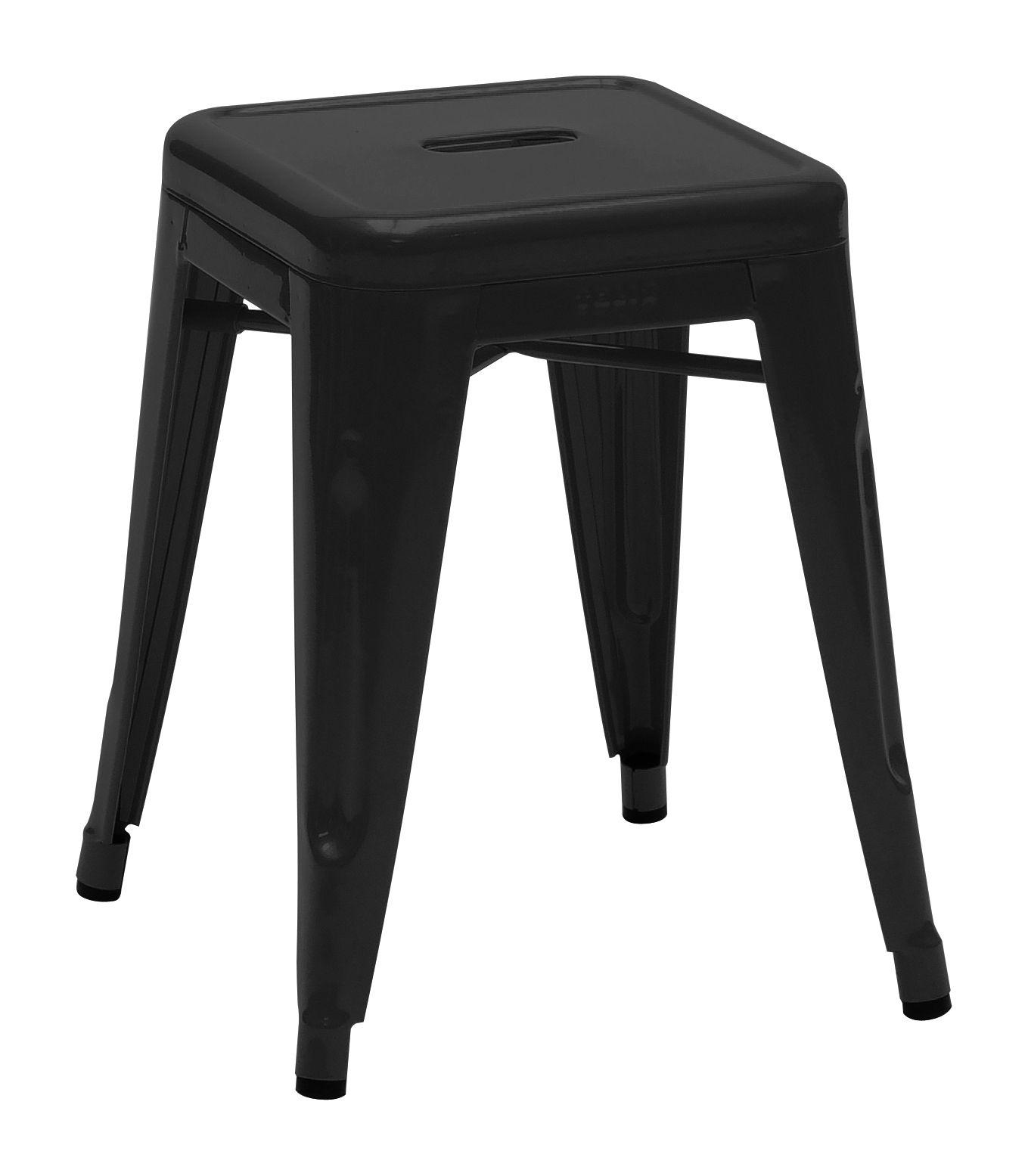 Mobilier - Tabourets bas - Tabouret empilable H / H 45 cm - Couleur brillante - Intérieur - Tolix - Noir - Acier recyclé laqué
