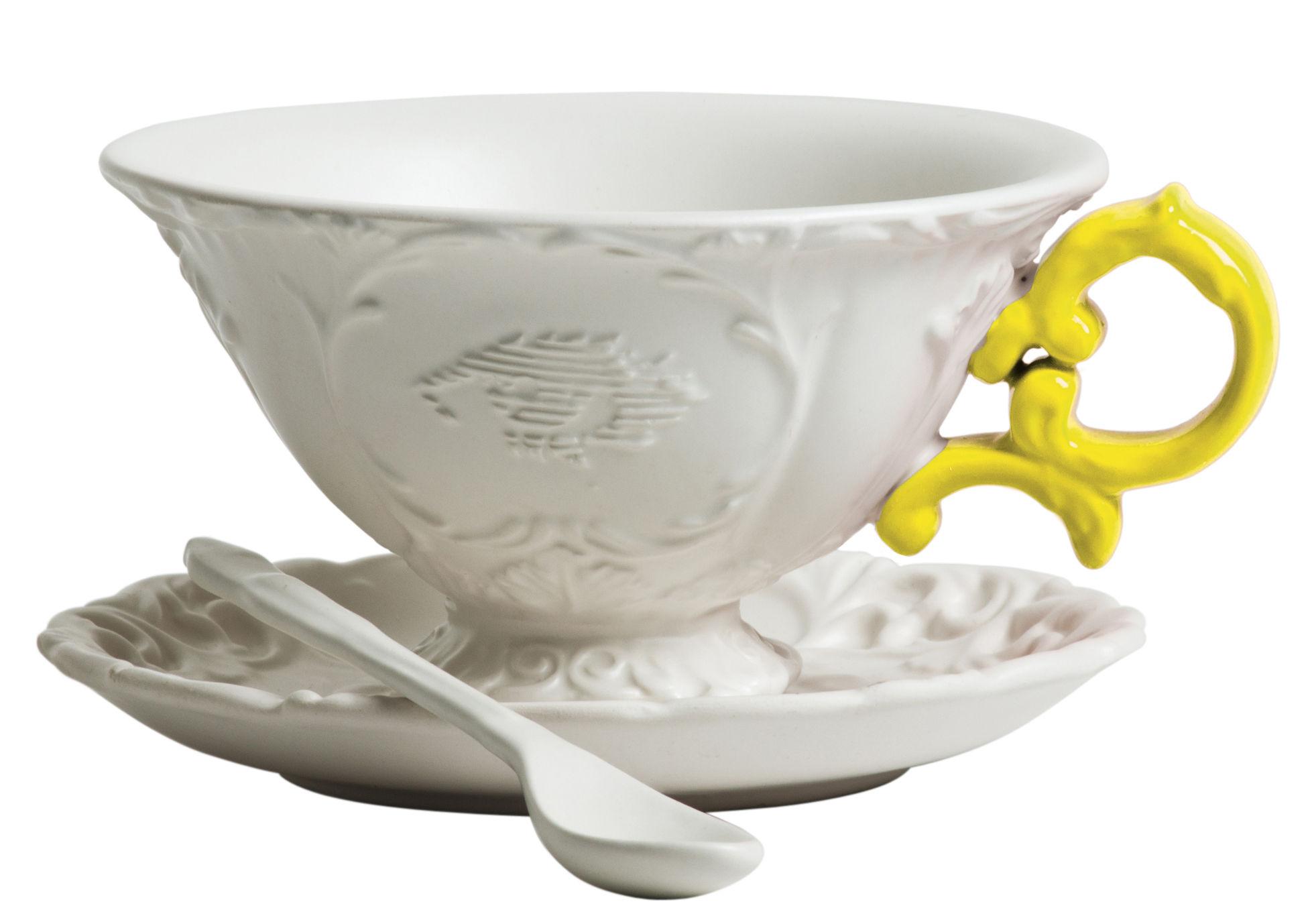 Tavola - Tazze e Boccali - Tazza da tè I-Tea - / Set tazza + sottopiattino + cucchiaio di Seletti - Bianco / Manico giallo - Porcellana