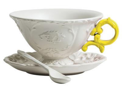 Tischkultur - Tassen und Becher - I-Tea Teetasse / Set aus Tasse, Untertasse und Löffel - Seletti - Weiß  / Griff gelb - Porzellan