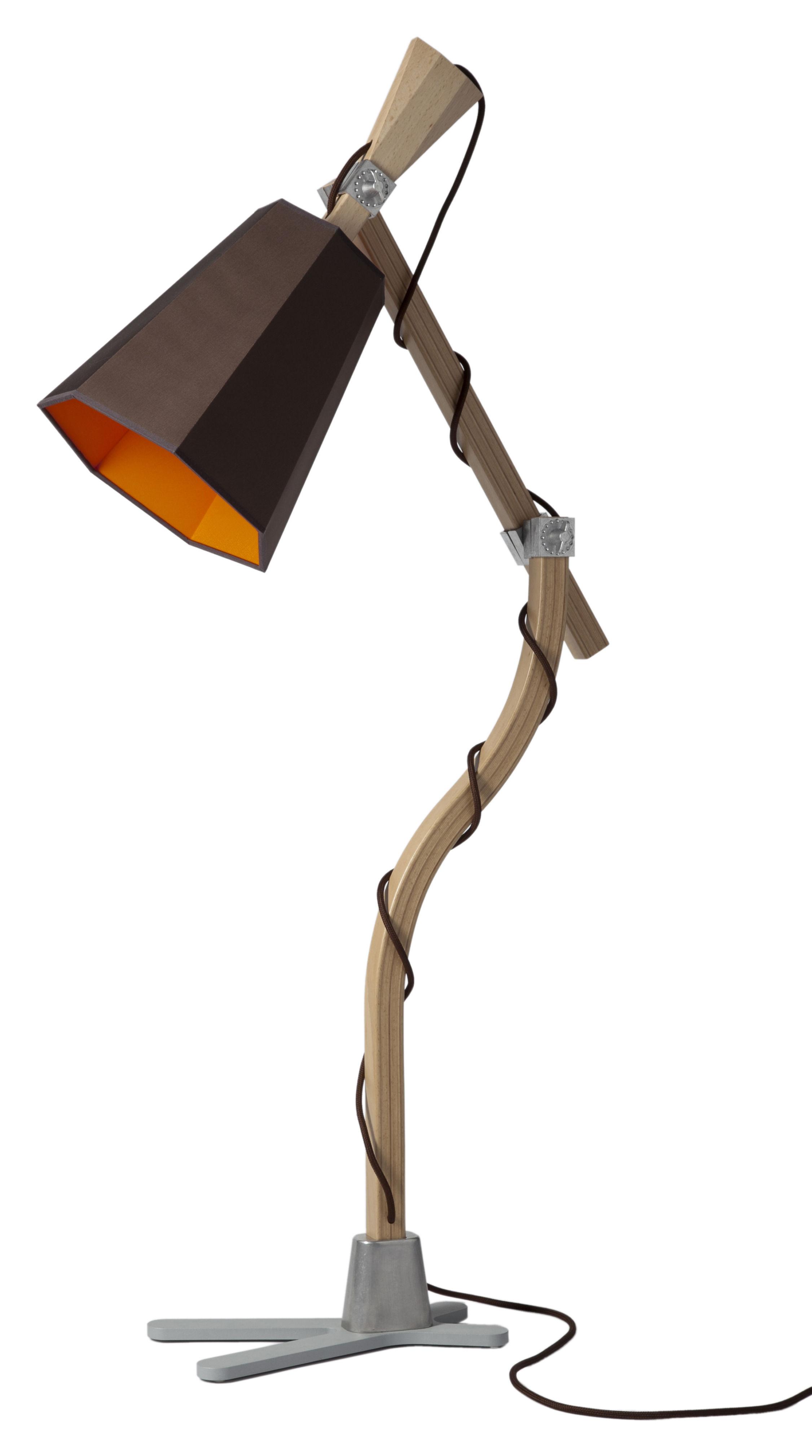 Leuchten - LuXiole Tischleuchte H 88 cm - Designheure - Lampenschirm braun / Innenseite orange - Baumwolle, Buchenfurnier, lackierter Stahl