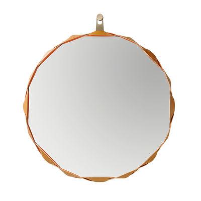 Decoration - Mirrors - Raperonzolo Wall mirror - Ø 69 cm - Leather by Zanotta - Ø 69 cm - Golden leather - Fabric, Glass, Leather