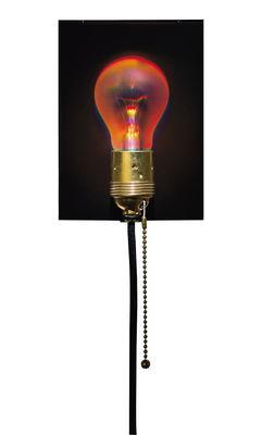 Leuchten - Wandleuchten - Holonzki Wandleuchte mit Stromkabel - Ingo Maurer - Hologramm rot - Kabel schwarz - Glas, Messing