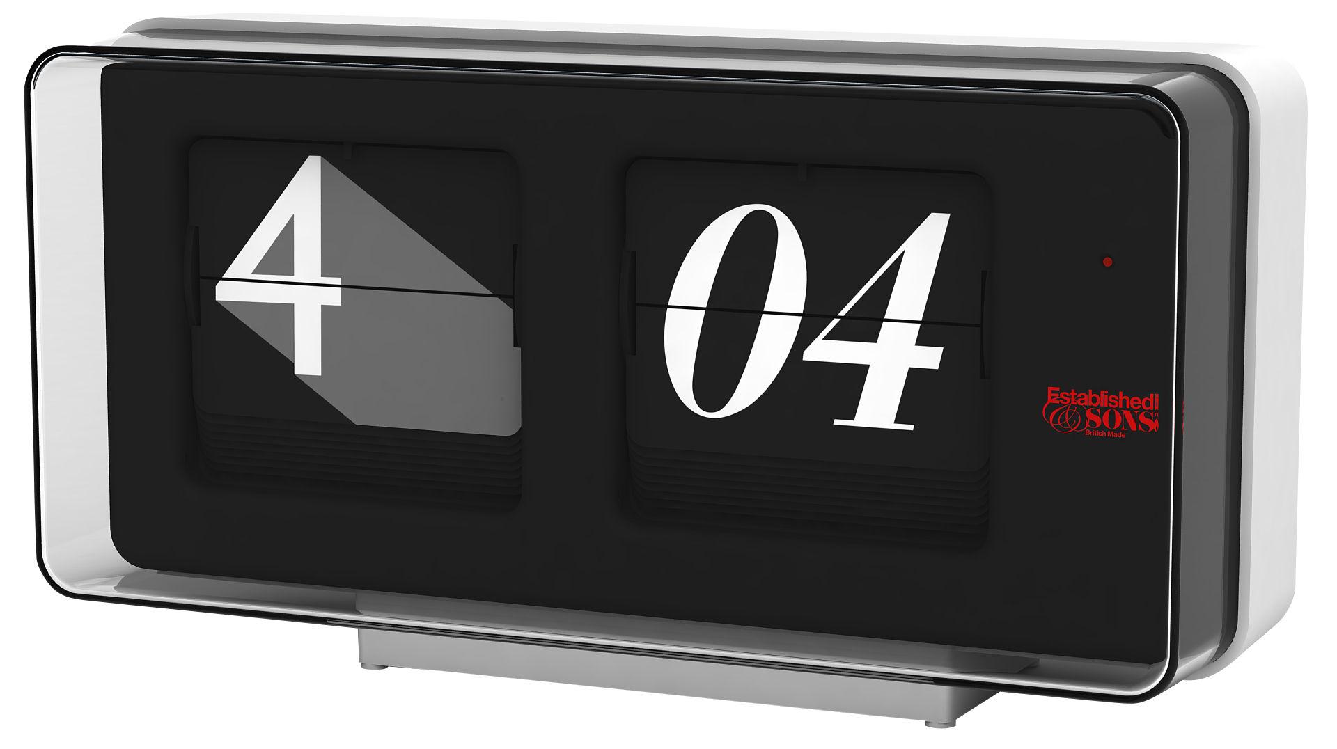 Dekoration - Uhren - Font Clock Wanduhr - Established & Sons - Schwarz /weiß  - 29 x 14 cm - ABS, Glas