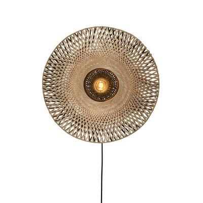 Applique avec prise Kalimantan Small / Bambou - Ø 44 cm - GOOD&MOJO noir,naturel en fibre végétale