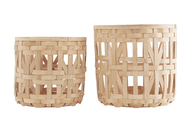 Déco - Corbeilles, centres de table, vide-poches - Corbeille Weave / Set de 2 - L 41 x H 35 cm - House Doctor - Pin naturel - Pin