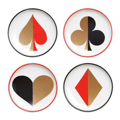 Dessous de verre Full Deck / Set de 4 - Porcelaine & or 24 carats - Jonathan Adler blanc,rouge,noir,or en céramique