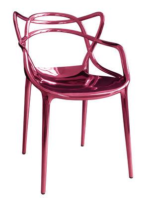 Mobilier - Chaises, fauteuils de salle à manger - Fauteuil empilable Masters Métallisé / Edition limitée & numérotée - 20 ans MID - Kartell - Rose métallisé - ABS métallisé