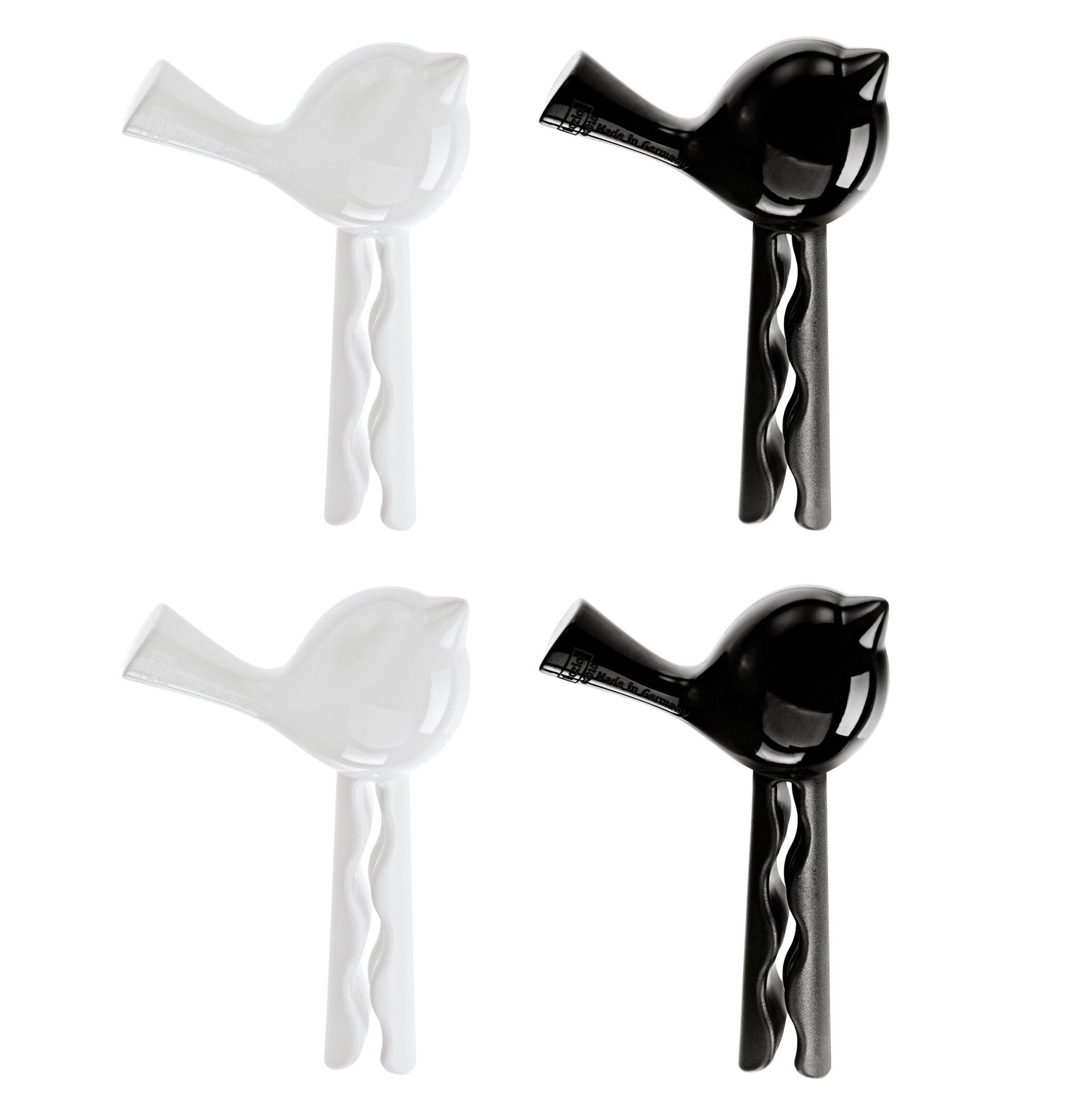 Küche - Gute Laune Accessoires - Pince à sachet PI:P set de 4 - Koziol - Noir / Blanc - Polykarbonat