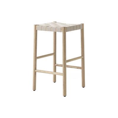 Furniture - Bar Stools - Betty TK7 High stool - / H 60 cm - Hand-woven linen straps by &tradition - Oak / Natural linen - Linen, Solid oak