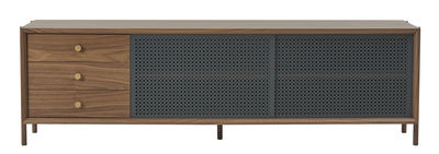 Meuble TV Gabin / Meuble TV - 3 tiroirs - L 162 cm - Hartô laiton,gris ardoise,noyer naturel en métal