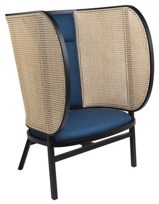 Furniture - Armchairs - Hideout Padded armchair - / Caning & fabric by Wiener GTV Design - Black & blue fabric / Natural straw - Curved solid beechwood, Kvadrat fabric, Polyurethane foam, Straw