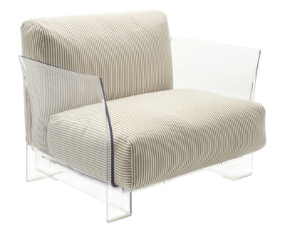 Furniture - Armchairs - Pop Outdoor Padded armchair by Kartell - Beige stripes - Acrylic fabric, Expanded polyurethane, Polycarbonate