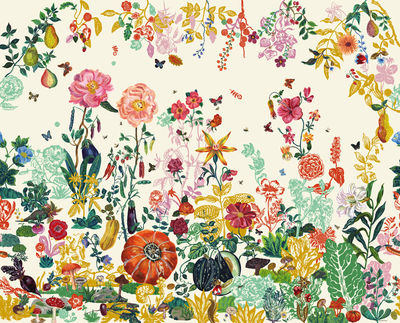Decoration - Wallpaper & Wall Stickers - Jardin Wallpaper by Domestic - Cream garden - Intisse paper