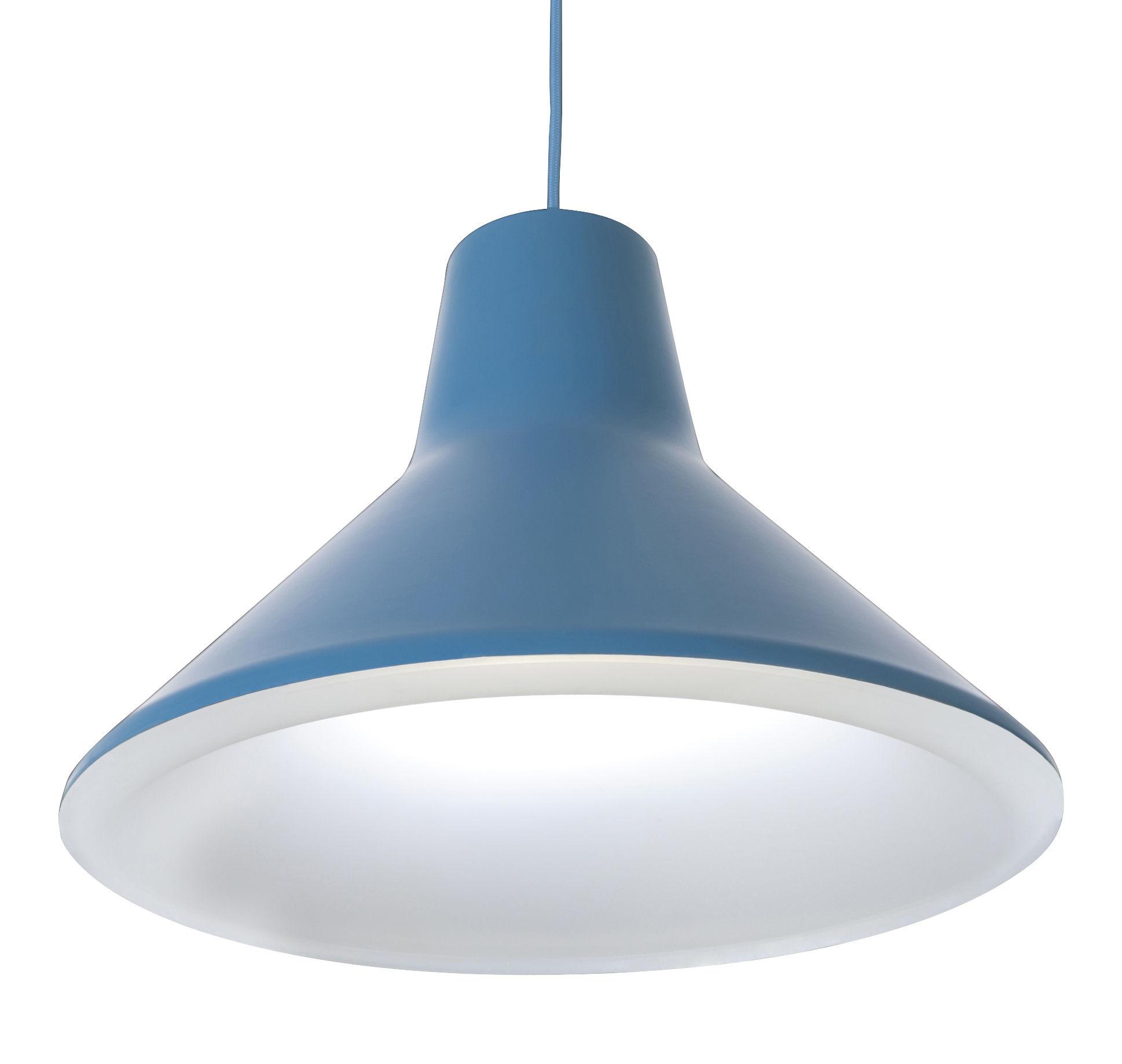 Leuchten - Pendelleuchten - Archetype Pendelleuchte LED - Luceplan - Himmelblau - lackiertes Aluminium, Polykarbonat