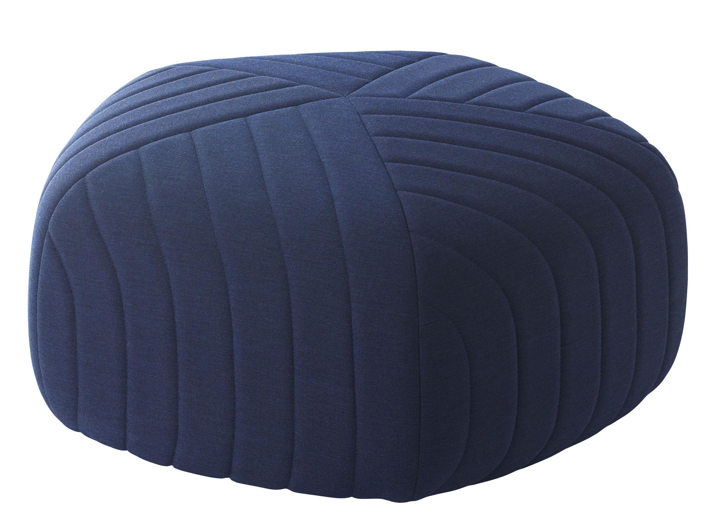 Arredamento - Pouf - Pouf Five / H 45 x  Ø 88 cm - Muuto - Blu scuro - Espanso, Legno, Tessuto Kvadrat