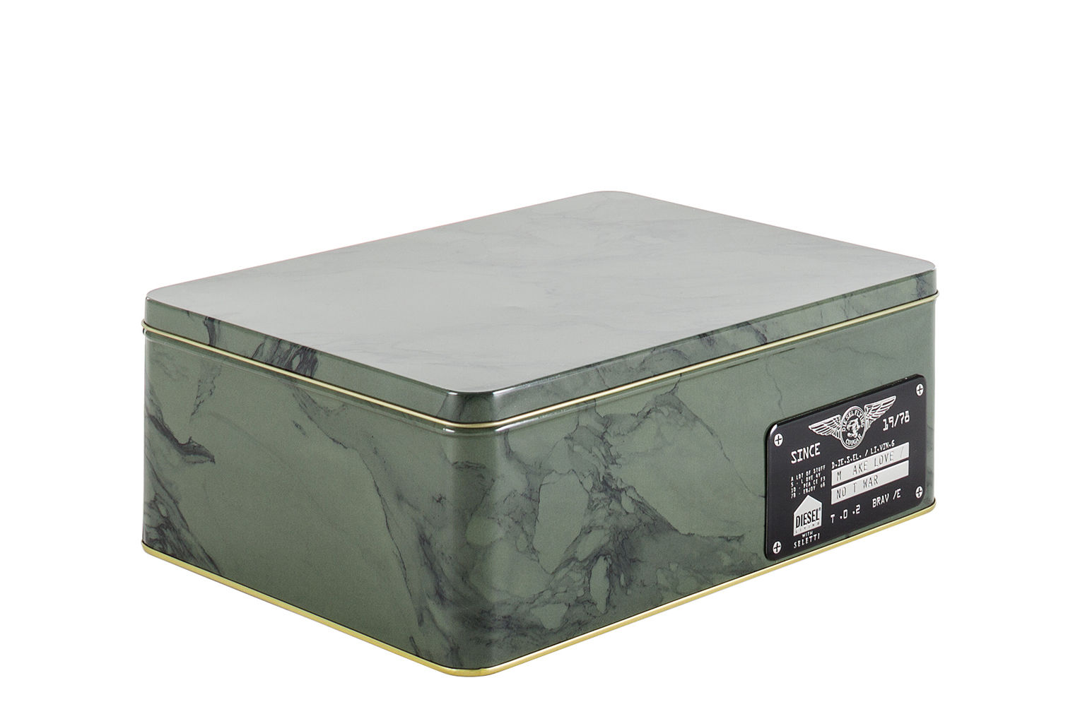 Cucina - Lattine, Pentole e Vasi - Scatola Alumarble Big - / Metallo effetto marmo di Diesel living with Seletti - Big / Kaki - Metallo