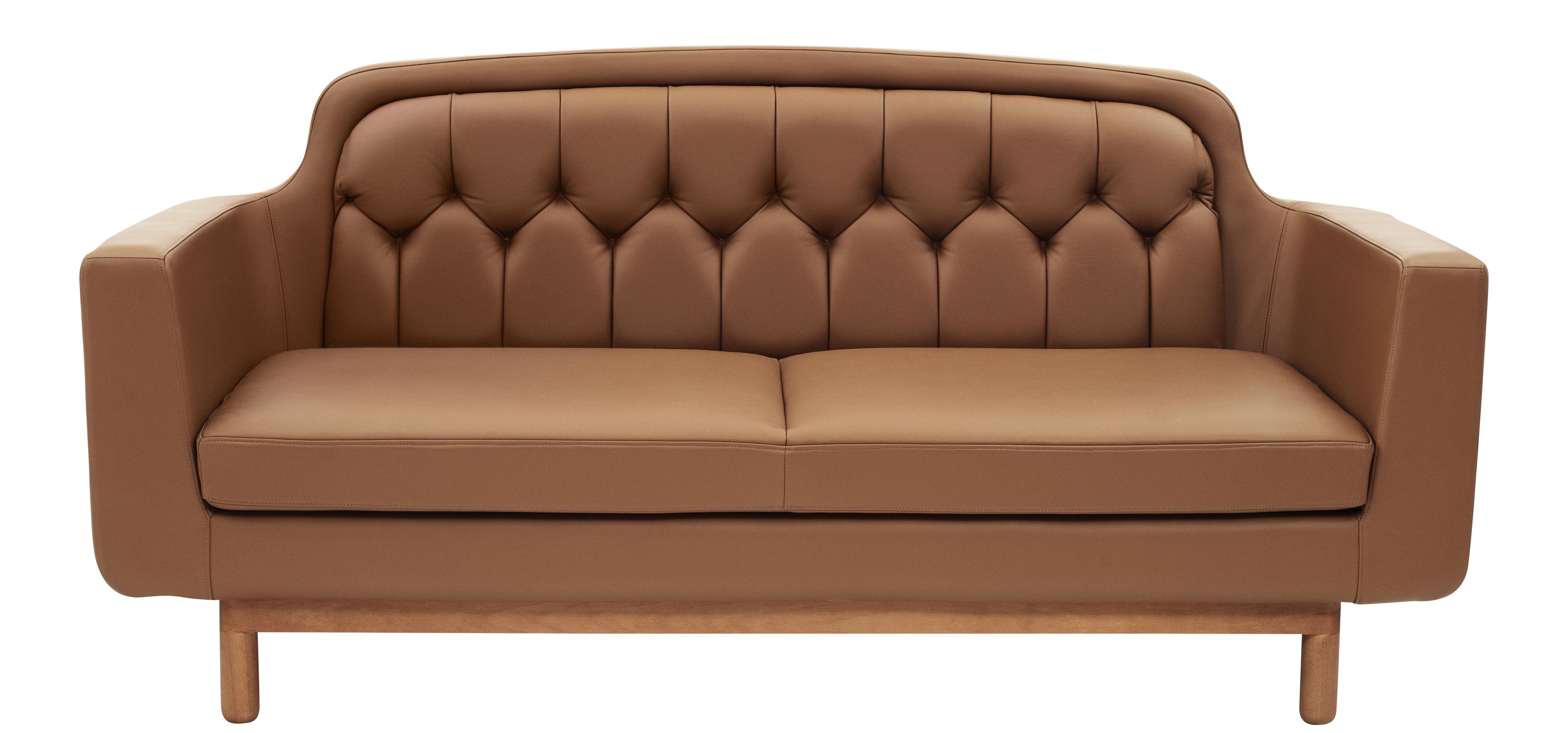 Möbel - Sofas - Onkel Sofa Cuir / 2 places - L 185 cm - Normann Copenhagen - Cognacfarben - Holz, Leder, Schaumstoff
