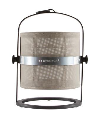 Leuchten - Tischleuchten - La Lampe Petite LED Solarlampe / kabellos - Gestell schwarz - Maiori - Helles Taupe / Gestell schwarz - Aluminium, Tissu technique