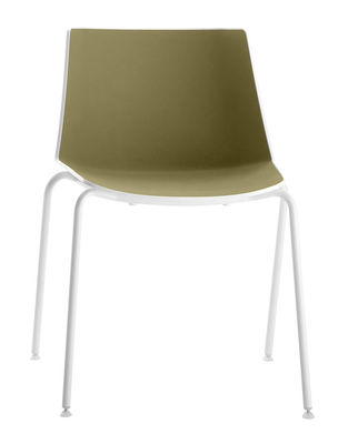 Furniture - Chairs - Aiku Stacking chair - / Metal round legs by MDF Italia - White & olive green inside / White legs - Painted steel, Polypropylene